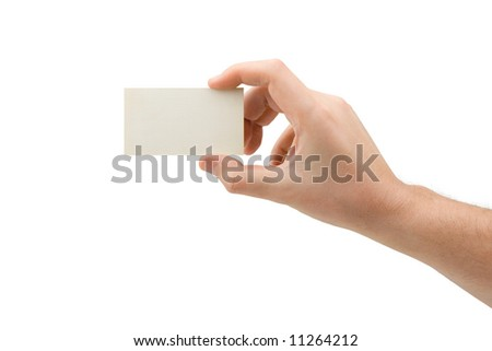 Paper card in hand, isolated on white background