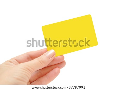 paper card in woman hand isolated on white