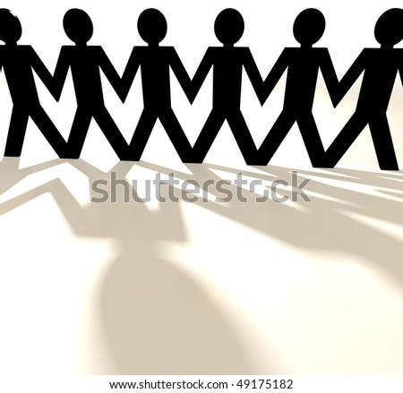 Paper chain cut out people with shadow and white background - stock photo