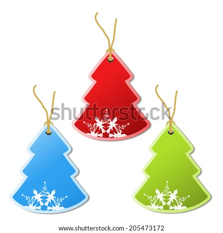 paper Christmas tree, tag - snowflake decoration - stock photo