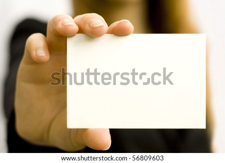 Paper clean sheet in hands in the woman - stock photo