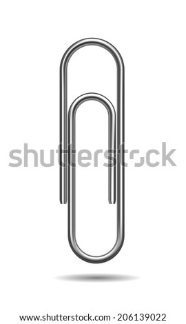 Paper clip isolated on white background. - stock photo