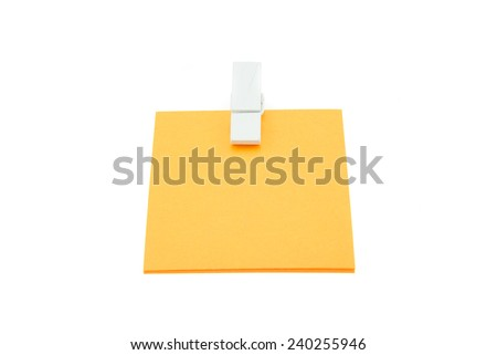 Paper clip note on isolated white background