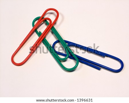 Paper clip, red,green, blue