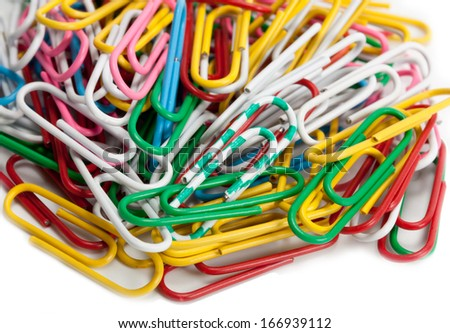Paper clip set isolated on white background - stock photo