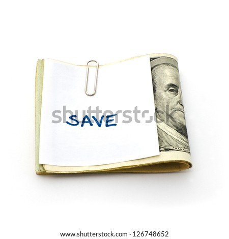 paper cliping on some cash - stock photo