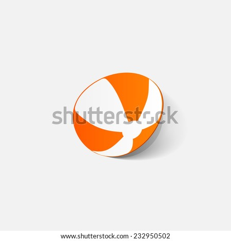 Paper clipped sticker: beachball. Isolated illustration icon - stock photo