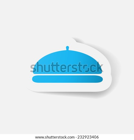 Paper clipped sticker: Cloche. Isolated illustration icon