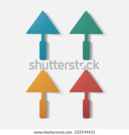 Paper clipped sticker: construction trowel. Isolated illustration icon - stock photo