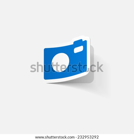 Paper clipped sticker: Digital compact photo camera. Isolated illustration icon - stock photo