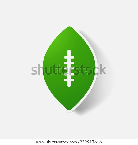 Paper clipped sticker: rugby ball. Isolated illustration icon - stock photo