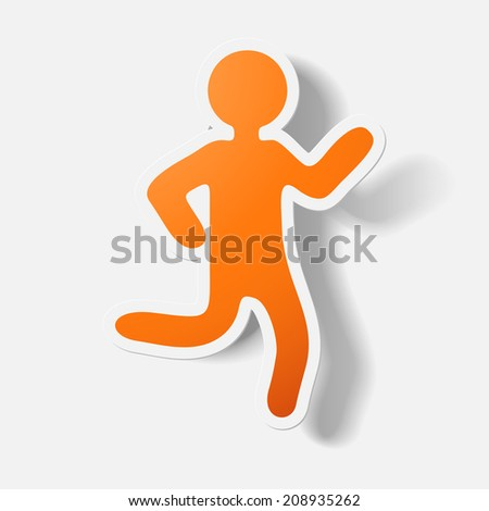 Paper clipped sticker: running Man. Isolated illustration icon