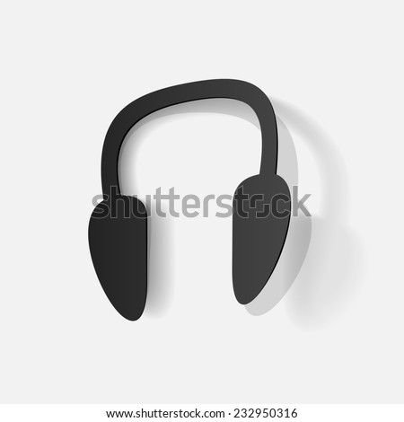 Paper clipped sticker: Wireless Headphones. Isolated illustration icon - stock photo