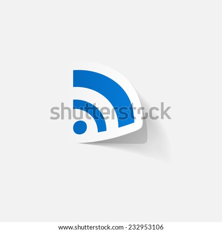 Paper clipped sticker: Wireless Network Symbol. Isolated illustration icon - stock photo