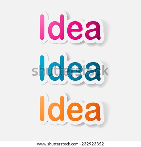 Paper clipped sticker: word idea. Isolated illustration icon - stock photo