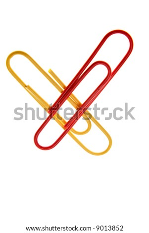 Paper-clips over white background