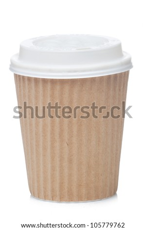 Paper coffee cup coffee to go - stock photo