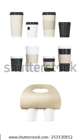 Paper coffee cup set with Coffee Holders on a white background. - stock photo