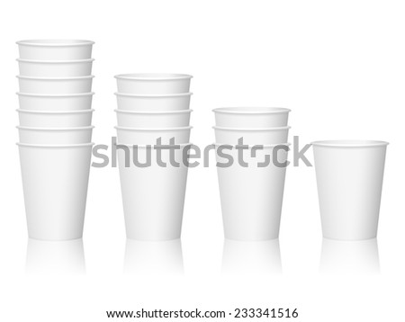 paper coffee cups illustration. - stock photo