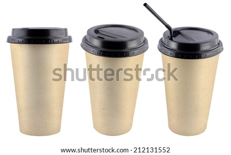 Paper coffee cups isolated on white background - stock photo