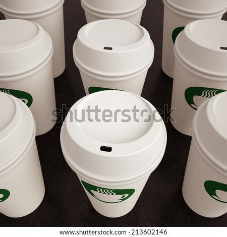 Paper coffee cups on arranged in multiple rows with a generic coffee logo like Starbucks. - stock photo