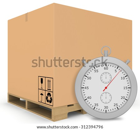 Paper covered boxes on wooden pallet with a stopwatch standing next.