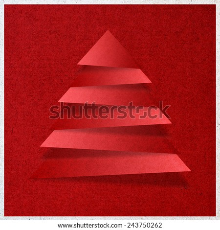 Paper craft, Christmas trees - stock photo