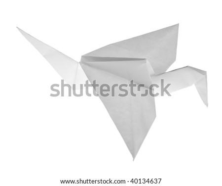 paper crane isolated on white background - stock photo