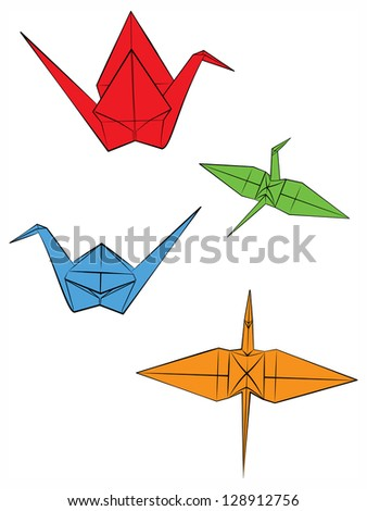 Paper cranes in four different views. Raster