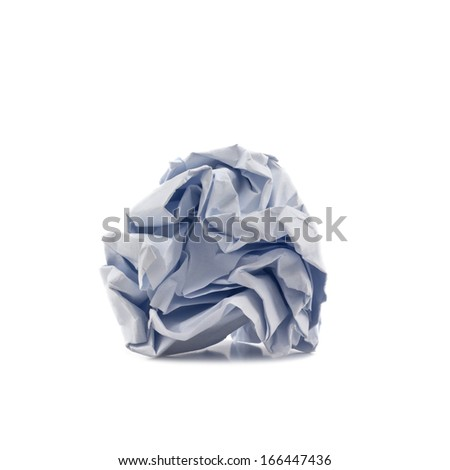 paper crumpled into a ball isolated on white background