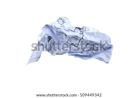 Paper - Crumpled sheet of progame drawing writing paper isolated . Junk paper can be recycle on white background