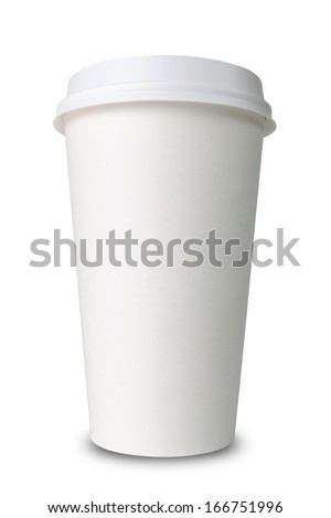 Paper cup isolated before white background - stock photo