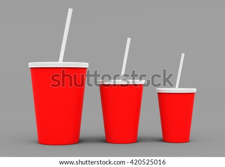 Paper cup mock up. 3D rendering