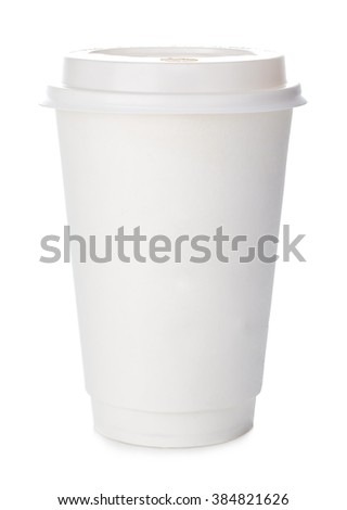 Paper cup of coffee close-up isolated on white background.