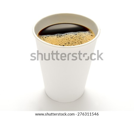 Paper cup of coffee isolated on white background - stock photo