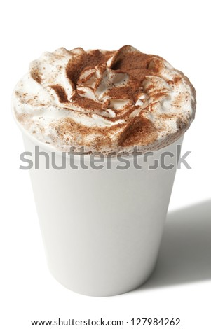 Paper cup with hot coffee drink isolated on white