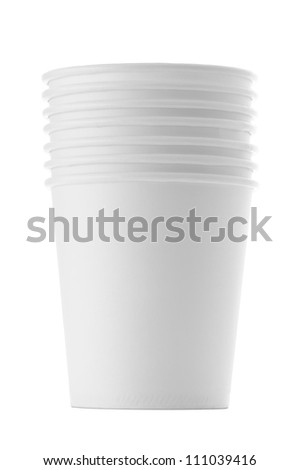 Paper cups , Isolated on white - stock photo