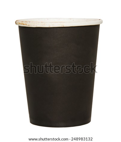 Paper cups isolated on white background.