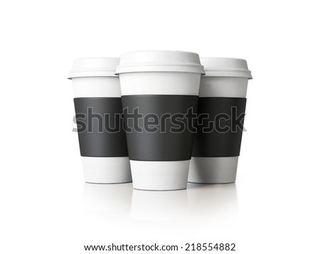 Paper cups with caps on white. - stock photo