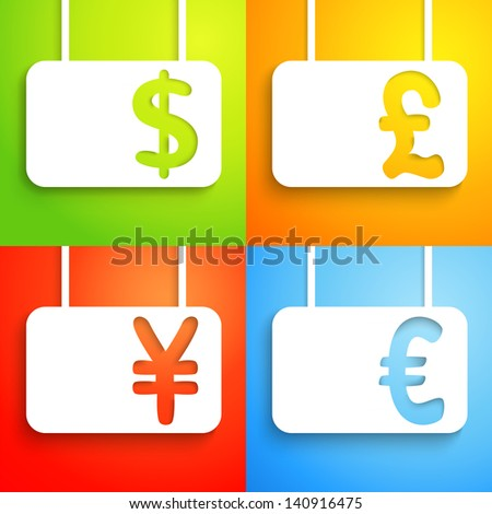 Paper currency signs - dollar, euro, yen and pound. Money symbol. Green, orange, red and blue color background. With place for text. Funny icons. Raster version.