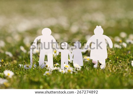 Paper cut of family with flowers background on a green grass.Family Life Insurance.Protecting family, family concepts.  - stock photo