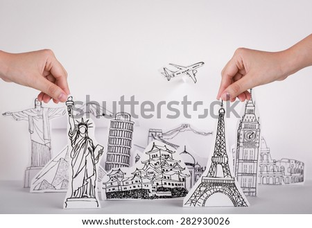 Paper cut of travel (Japan,France,Italy,New York,India,egypt) - stock photo