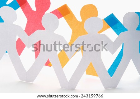 Paper cut people, isolated on white background - stock photo