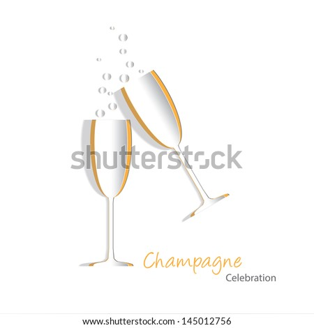 Paper cutouts of champagne glasses with bubbles. Also available in vector format - stock photo