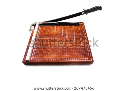 Paper cutter on white background - stock photo