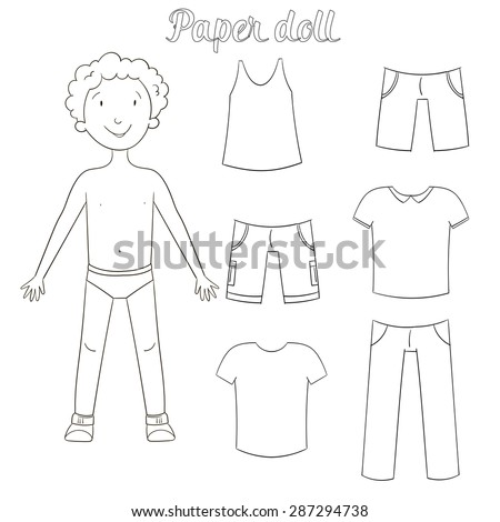 paper doll boy and clothes coloring book raster version - Coloring Book Paper Stock