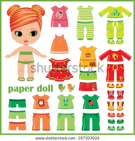 Paper doll with clothes set. Raster illustration - stock photo
