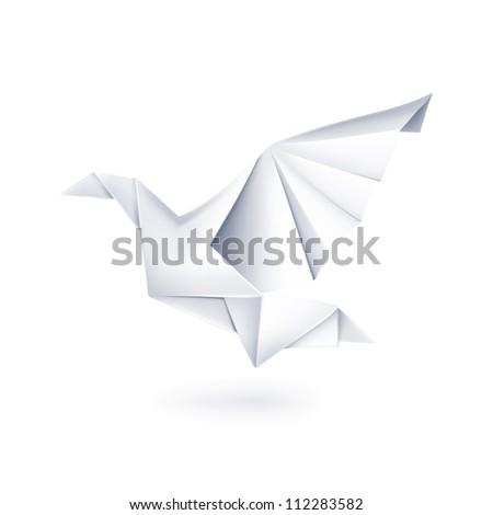 Paper dove, origami bitmap copy - stock photo