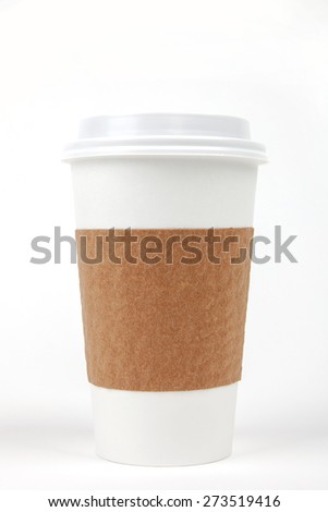 Paper drinking cup with lid and holder