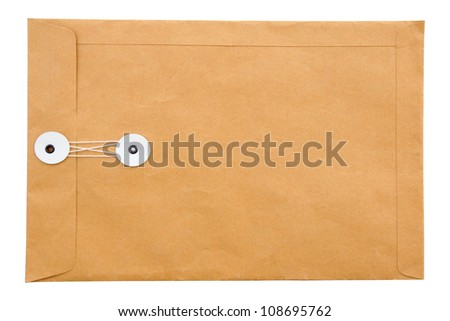 Paper envelope isolated on white background, clipping path - stock photo